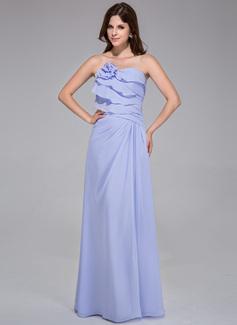 Corte A/Princesa Estrapless Vestido Chifón Dama de honor con Flores Cascada de volantes