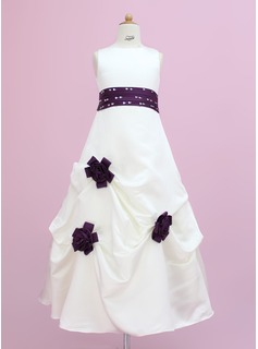 A-Line/Princess Floor-length Flower Girl Dress - Satin Sleeveless Scoop Neck With Sash/Beading/Flower(s)/Sequins/Pick Up Skirt