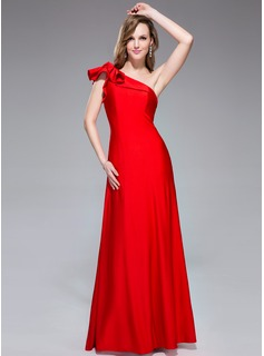 Trumpet/Mermaid One-Shoulder Floor-Length Jersey Holiday Dress With Cascading Ruffles