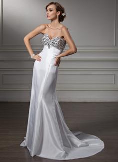 Empire Sweetheart Sweep Train Taffeta Prom Dress With Beading