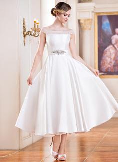 Corte A/Princesa Hombros caídos Hasta la tibia Satén Tul Vestido de novia con Bordado Lentejuelas