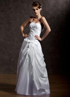 Corte A/Princesa Escote corazón Hasta el suelo Tafetán Tul Vestido de novia con Volantes Bordado Los appliques Encaje Flores