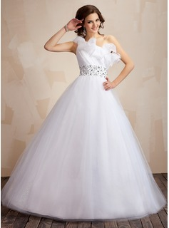 Ball-Gown One-Shoulder Floor-Length Tulle Quinceanera Dress With Ruffle Beading Sequins