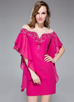 Sheath/Column Off-the-Shoulder Short/Mini Chiffon Holiday Dress With Beading Flower(s) Cascading Ruffles