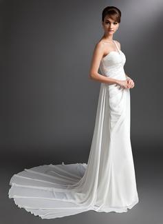 Sheath/Column One-Shoulder Watteau Train Chiffon Wedding Dress With Ruffle Beading