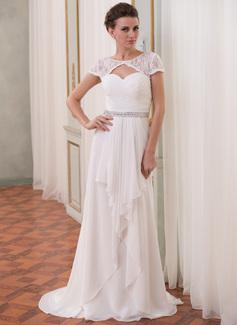 Corte A/Princesa Escote redondo Barrer/Cepillo tren Chifón Encaje Vestido de novia con Bordado Cascada de volantes