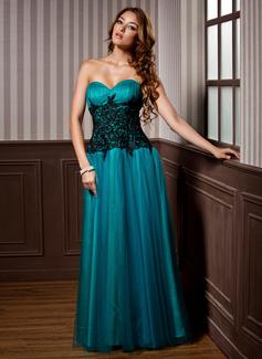 A-Linie/Princess-Linie Herzausschnitt Bodenlang Tüll Abendkleid mit Rüschen Spitze