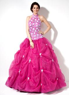 Duchesse-Linie Träger Bodenlang Organza Spitze Quinceañera Kleid (Kleid für die Geburtstagsfeier) mit Rüschen