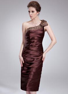 Sheath/Column One-Shoulder Knee-Length Charmeuse Cocktail Dress With Ruffle Beading