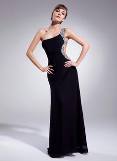 Sheath/Column One-Shoulder Sweep Train Chiffon Prom Dress With Ruffle Beading