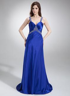 A-Line/Princess V-neck Sweep Train Charmeuse Prom Dress With Ruffle Beading