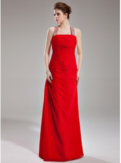 Sheath/Column Halter Floor-Length Chiffon Evening Dress With Ruffle Beading Sequins