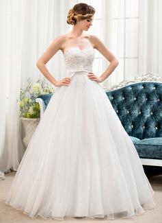Corte de baile Escote corazón Hasta el suelo Organdí Satén Encaje Vestido de novia con Bordado Lentejuelas Lazo(s)