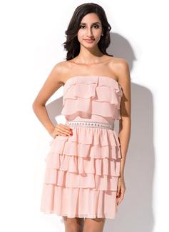 Sheath/Column Strapless Short/Mini Chiffon Homecoming Dress With Ruffle Beading Cascading Ruffles