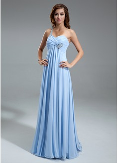 Empire One-Shoulder Floor-Length Chiffon Holiday Dress With Ruffle Beading