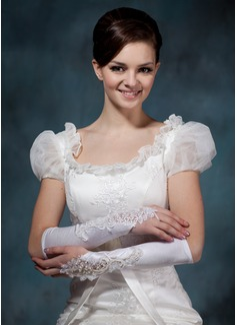 Satén elástico Codo Largo Guantes de novia