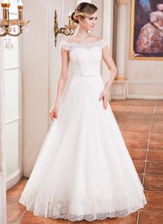 Corte A/Princesa Hombros caídos Hasta el suelo Satén Tul Vestido de novia con Volantes Encaje Bordado Lentejuelas