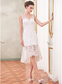 Sheath/Column V-neck Asymmetrical Organza Wedding Dress With Beading Appliques Lace Sequins