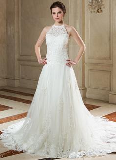 A-linjeformat Grimma Court släp Tyll Spetsar Bröllopsklänning med Pärlbrodering Paljetter