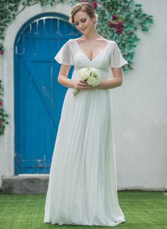 Corte imperial Escote en V Hasta el suelo Chifón Vestido de novia con Bordado Plisado