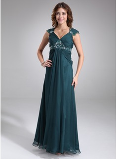 Empire V-neck Floor-Length Chiffon Maternity Bridesmaid Dress With Ruffle Lace Beading