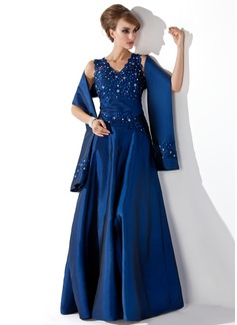 A-Line/Princess V-neck Floor-Length Taffeta Mother of the Bride Dress With Lace Beading Sequins