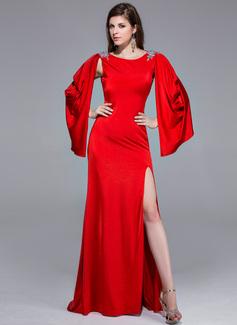Corte A/Princesa Escote redondo Barrer/Cepillo tren Jersey Vestido de baile de promoción con Bordado Apertura frontal