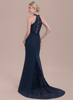 Trumpet/Mermaid High Neck Sweep Train Chiffon Lace Bridesmaid Dress