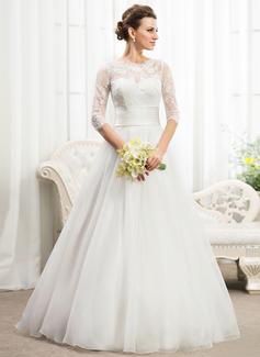 Corte A/Princesa Escote redondo Hasta el suelo Organdí Satén Encaje Vestido de novia con Volantes Bordado Lentejuelas