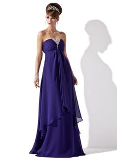 A-Linie/Princess-Linie Trägerlos Bodenlang Chiffon Abendkleid mit Rüschen Perlen verziert