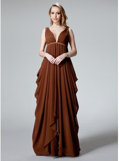 Empire V-neck Floor-Length Chiffon Evening Dress With Ruffle