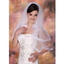 2 couches Voile de mariée longueur coude avec Bord en ruban