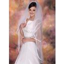 2 couches Voiles de mariée valse avec Bord en ruban