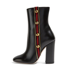 Women's Real Leather Chunky Heel Pumps Boots With Rhinestone Zipper shoes