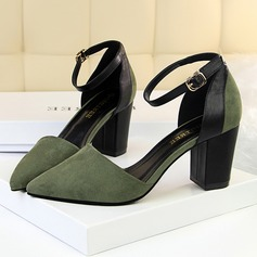 Women's Suede Leatherette Stiletto Heel Pumps Closed Toe With Split Joint shoes