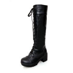 Women's Leatherette Chunky Heel Closed Toe Mid-Calf Boots shoes