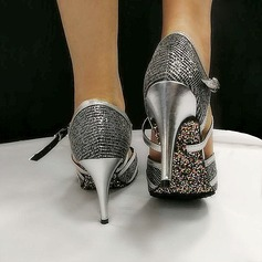 Women's Leatherette Heels Pumps Ballroom With Hollow-out Dance Shoes