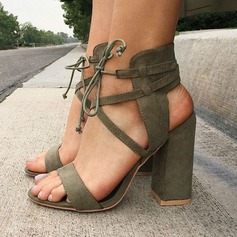 Women's Suede Chunky Heel Sandals Pumps Peep Toe With Lace-up shoes