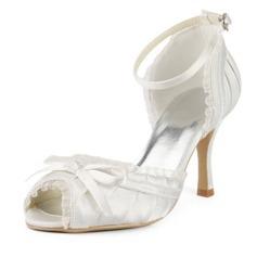 Femmes Satiné Talon stiletto Sandales avec Un nœud Boucle Couture dentelle