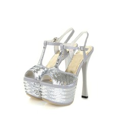 Satin Spool Heel Sandals Platform With Sequin shoes