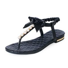 Vrai cuir Talon plat Sandales Chaussures plates avec Un nœud Perle d'imitation chaussures