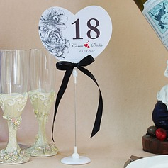 Personalized Heart Shaped Paper Table Number Cards With Holder With Ribbons (Set of 10)