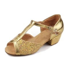Women's Leatherette Sparkling Glitter Sandals Latin With T-Strap Dance Shoes
