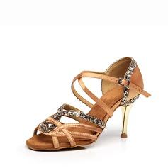 Women's Satin Sparkling Glitter Heels Sandals Latin Dance Shoes