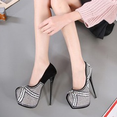 Women's Suede Stiletto Heel Pumps Closed Toe With Crystal shoes