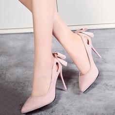 Women's Suede Stiletto Heel Pumps Closed Toe With Applique shoes
