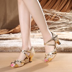 Women's Fabric Patent Leather Heels Sandals Latin With Ankle Strap Dance Shoes