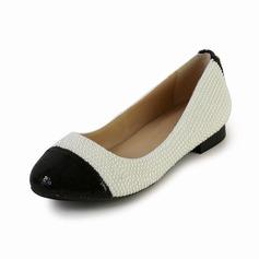 Cuir verni Talon plat Chaussures plates Bout fermé avec Perle d'imitation chaussures