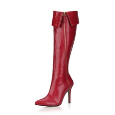 Women's Leatherette Stiletto Heel Pumps Closed Toe Boots Knee High Boots With Zipper shoes