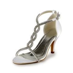 De mujer Satén Tacón stilettos Sandalias con Hebilla Rhinestone